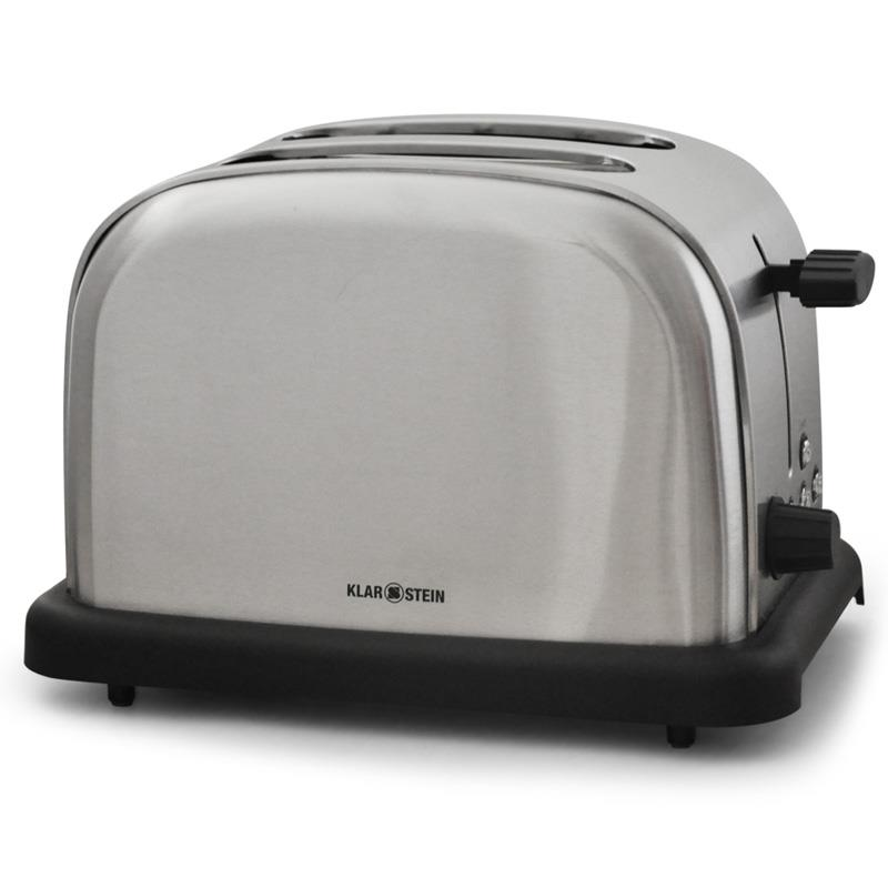 Klarstein BT-318-S Stainless Steel 2-Slice Toaster - Silver: Click to enlarge image!