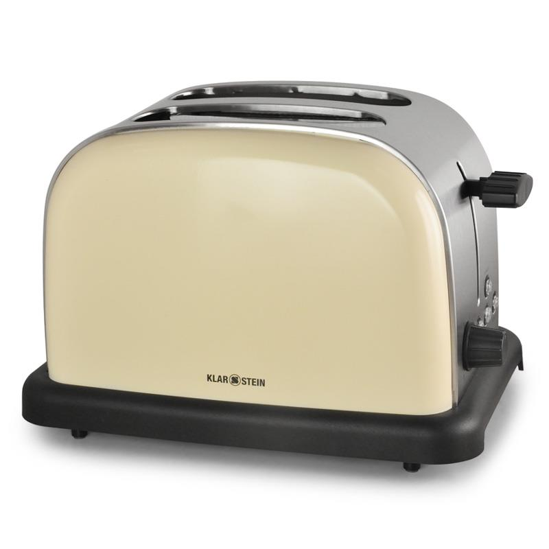 Klarstein BT-318-C Stainless Steel 2-Slice Toaster - Cream: Click to enlarge image!