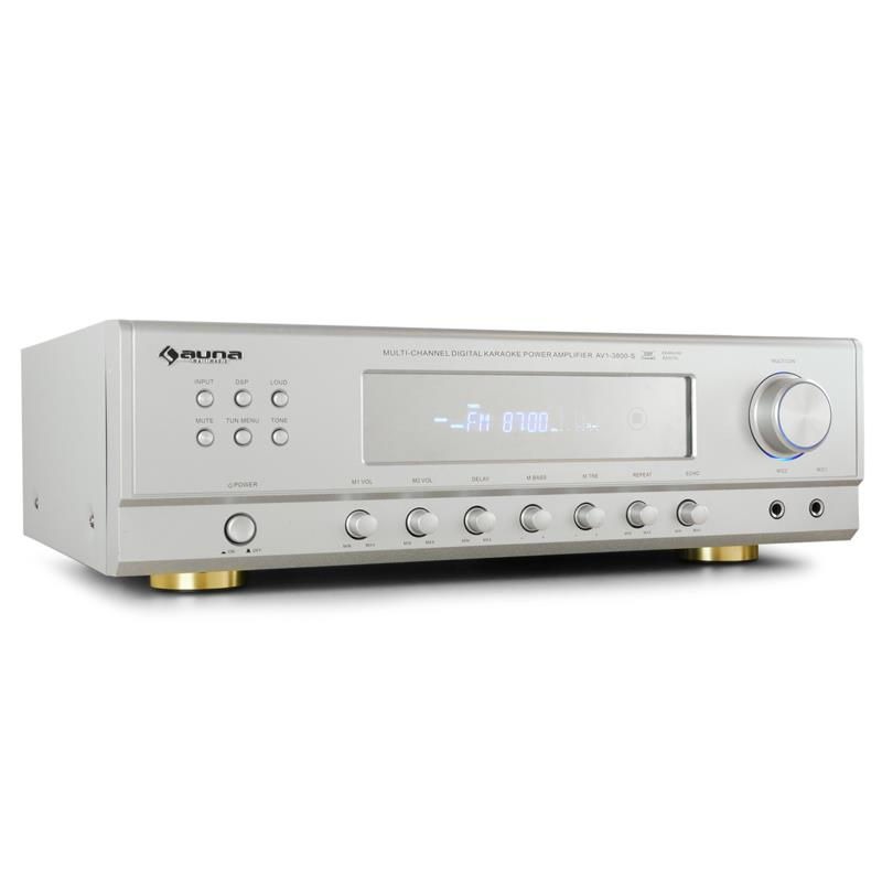 Auna AMP-3800-S 5.1 Surround PA Karaoke Amplifier 600W Silver: Click to enlarge image!