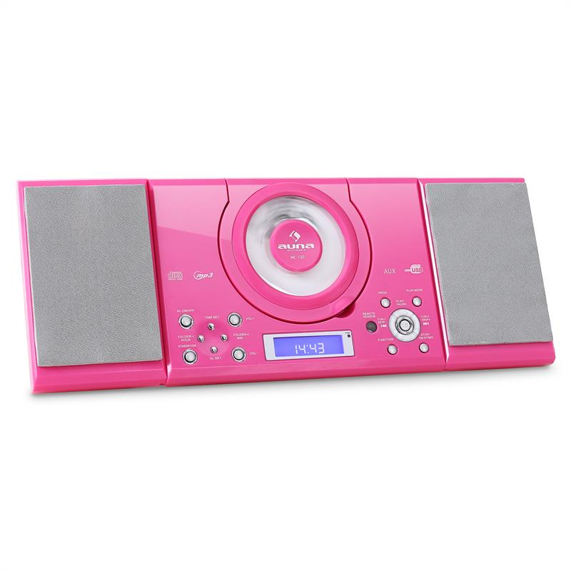 auna mc 120 hi fi stereo system mp3 cd player usb pink at. Black Bedroom Furniture Sets. Home Design Ideas
