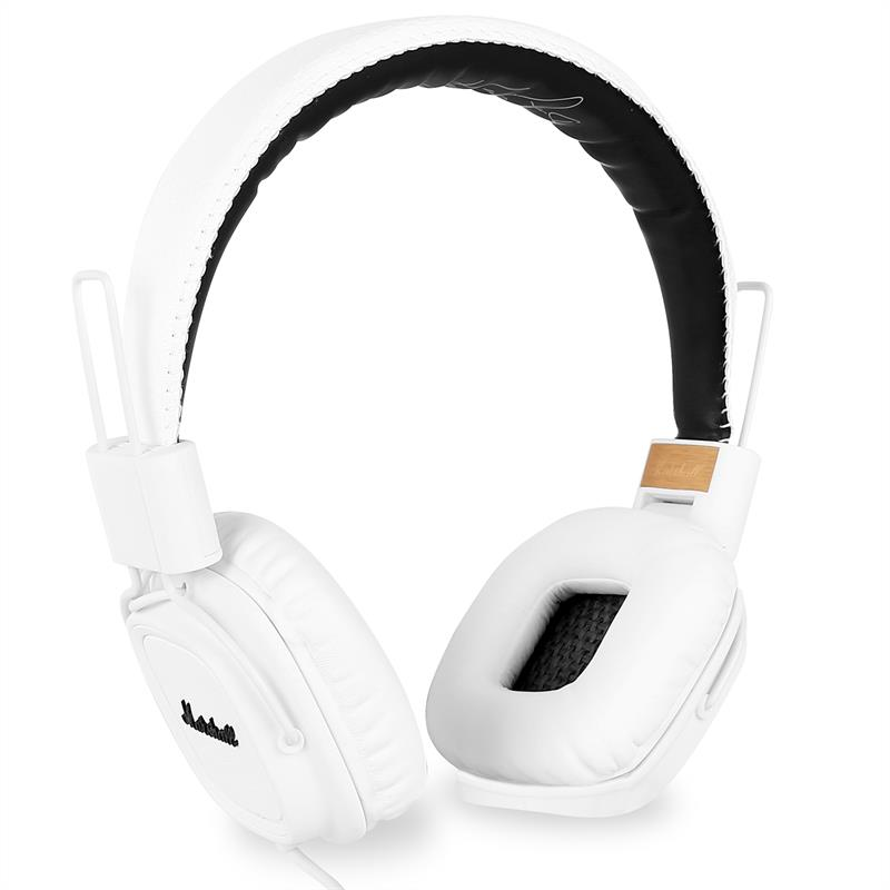 Marshall Major White Headphones with Hands-Free Speakerphone Mic: Click to enlarge image!