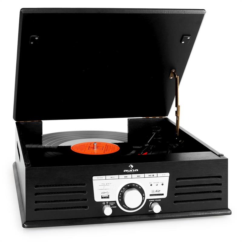 Auna TT-92B Record Player Turntable USB SD AUX FM Black: Click to enlarge image!