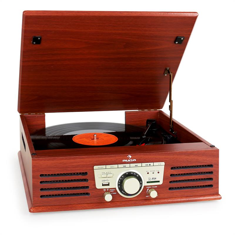 Auna tt 92b turntable record player usb sd aux wooden finish at the best price - Lecteur vinyle retro ...