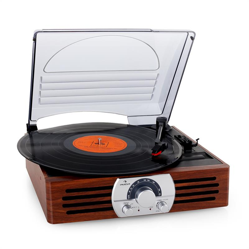 auna tt 83n record player turntable stereo system fm wood. Black Bedroom Furniture Sets. Home Design Ideas