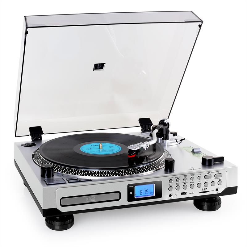 Auna TT-1200 Stereo Turntable Record Player LP MP3 AUX SD USB Silver: Click to enlarge image!