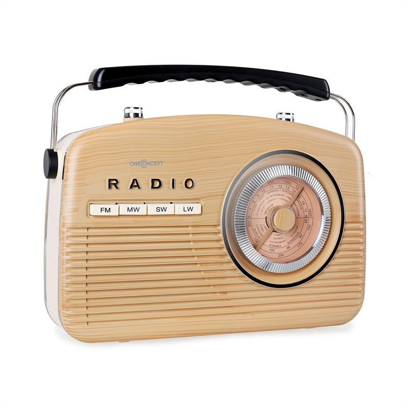FM Brown Beige i14059 on old fashioned portable am radio