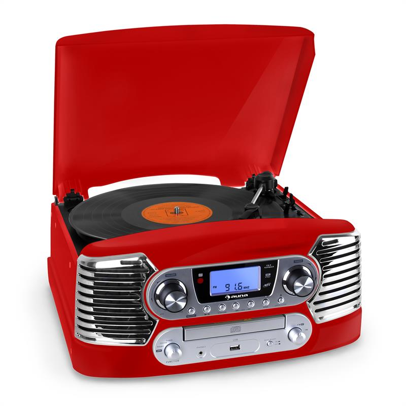 Auna RTT-885RE CD & Record Player USB ​​MP3 FM Red: Click to enlarge image!