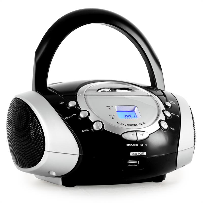 Majestic AH 1257 Portable Ghettoblaster Radio USB CD AUX Black: Click to enlarge image!