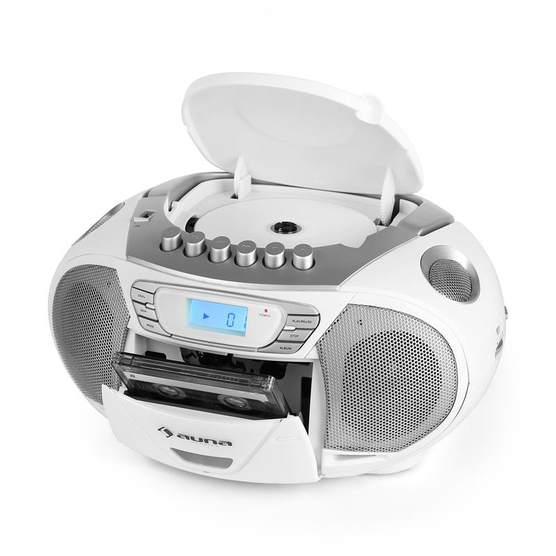 white portable stereo boombox system cd radio usb mp3 cassette tape recorder ebay. Black Bedroom Furniture Sets. Home Design Ideas