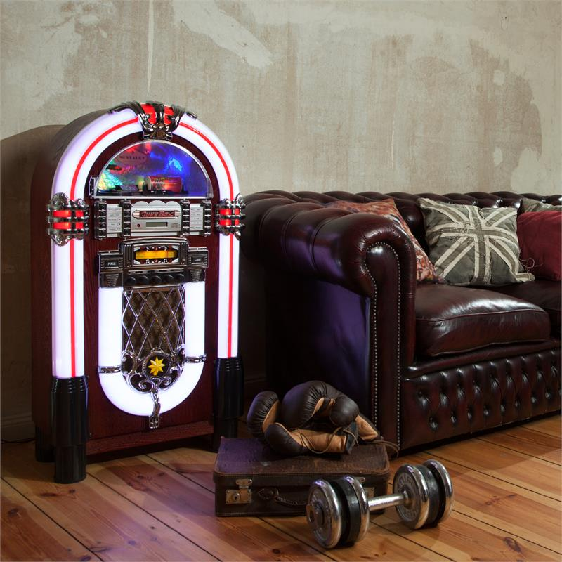 new 50 39 s retro jukebox stereo bluetooth usb sd aux cd radio free p p uk offer ebay. Black Bedroom Furniture Sets. Home Design Ideas