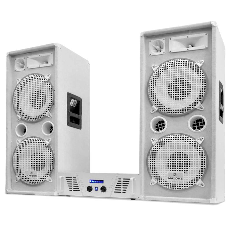 "DJ PA System White Star ""Arctic Ice"" Speakers & Amplifier Set 2000W: Click to enlarge image!"