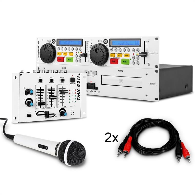 DJ Set 'Urban Flash Mix' Dual CD Player, Mixer, Mic & Cable: Click to enlarge image!