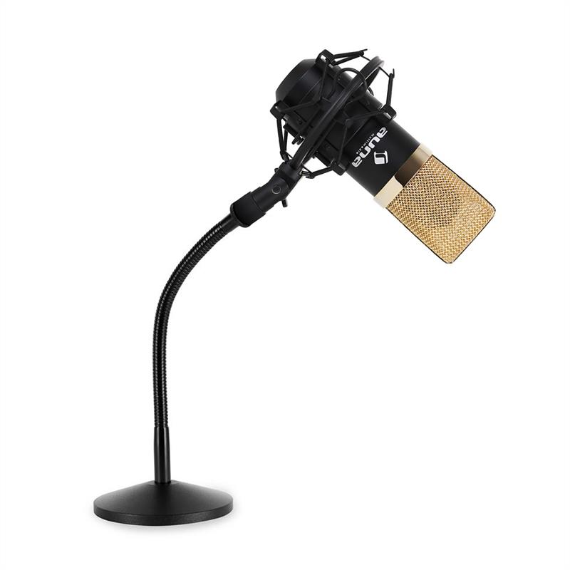 USB Studio Microphone With Flexible Table Stand In Gold