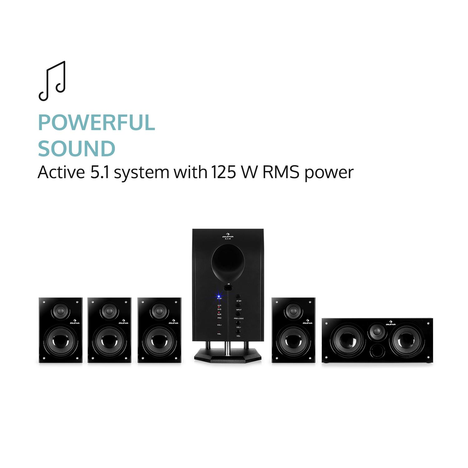Auna-Areal-525-Bk-5-1-Surround-Sound-Active-Speaker-System-125-W-RMS thumbnail 4