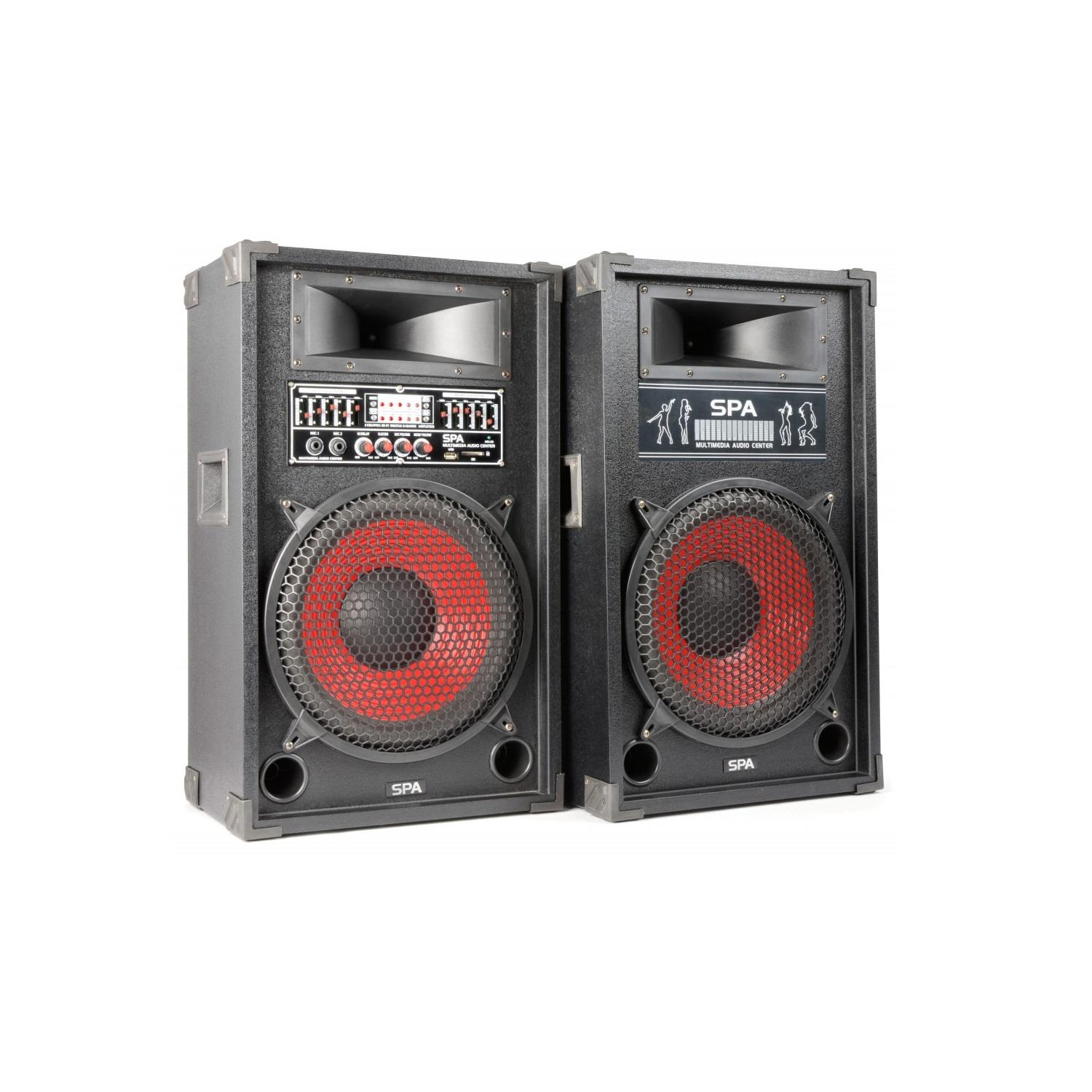 12 active powered dj pa speakers usb sd mp3 1200w new microphone input rca line ebay. Black Bedroom Furniture Sets. Home Design Ideas