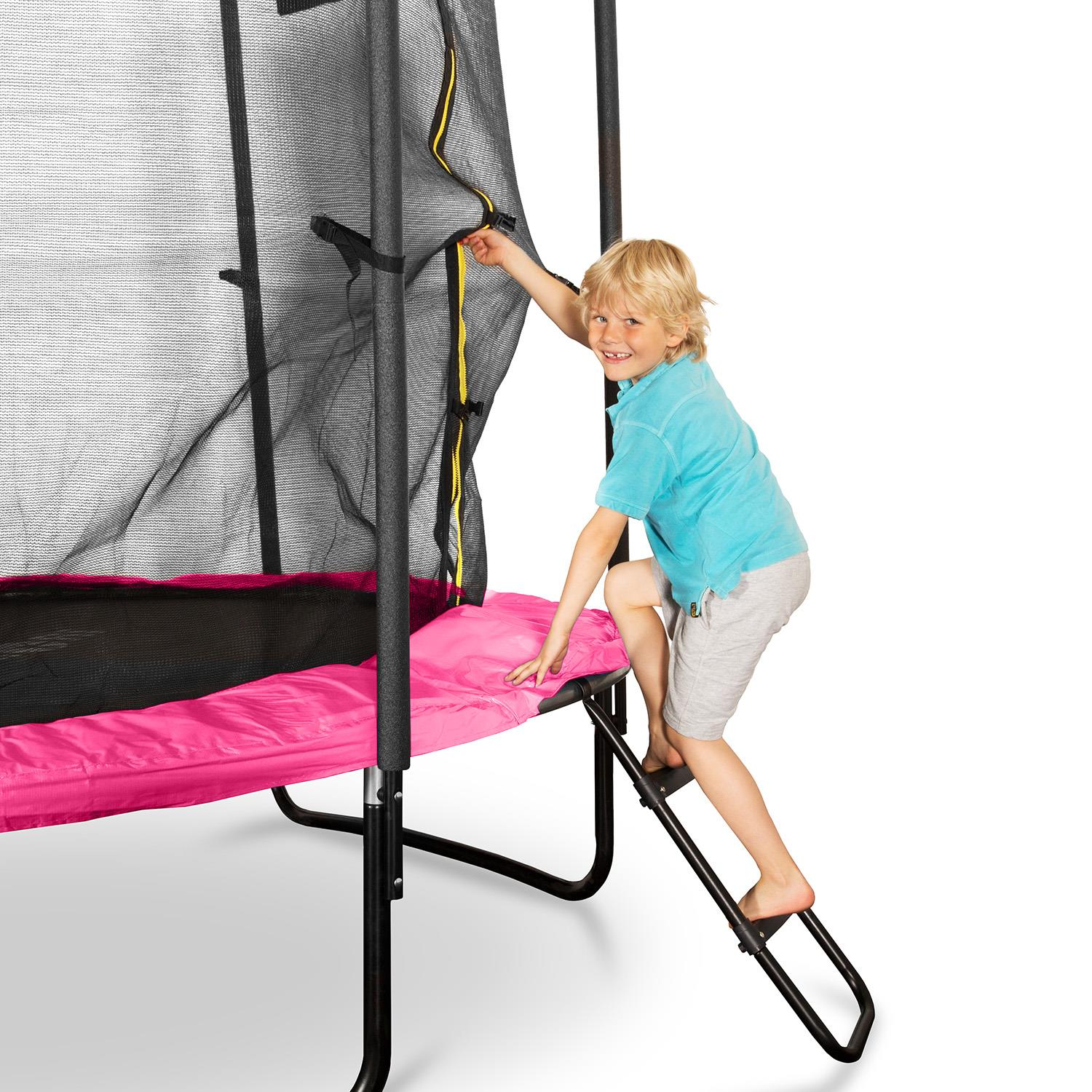 New Heavy Duty Trampoline 14 Ft With Ladder Safety Net: OUTDOOR PINK TRAMPOLINE WIDE LADDER Inc. SAFETY NET