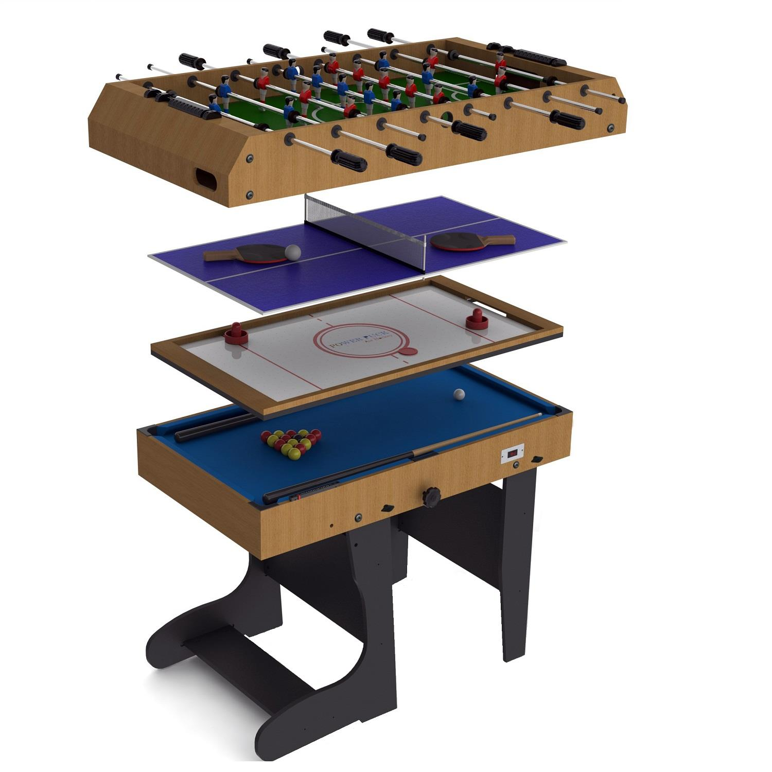 Riley 4 in 1 game table foldable 12 games air hockey for Table 4 en 1