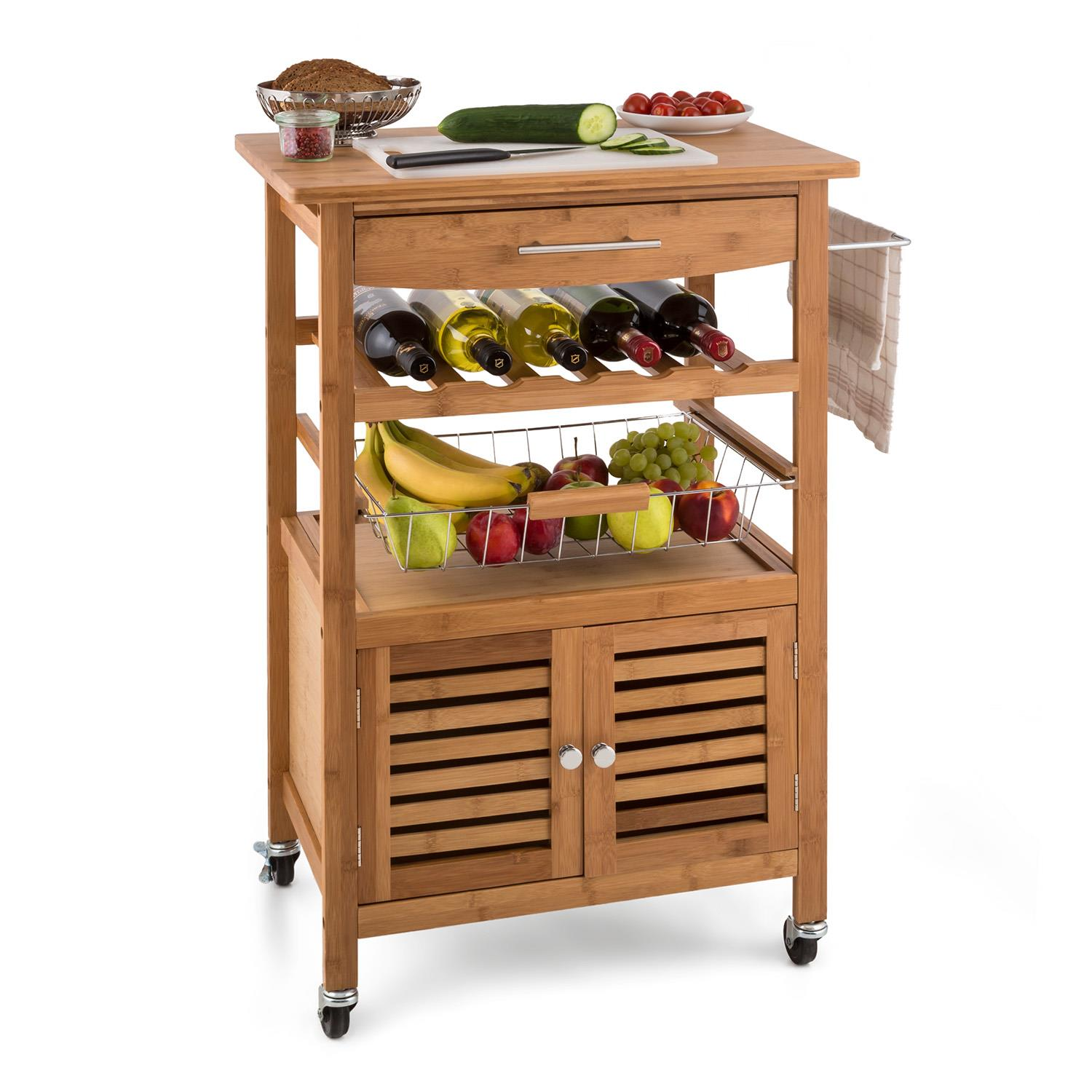 Kitchen Carts Trolley Service 3 Levels Bamboo Granite